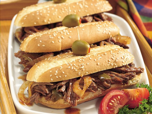 Slow Cooker Smoky Brisket Hoagies