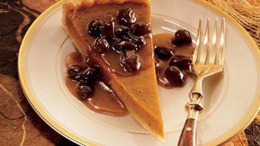 Pumpkin Tart with Caramel Rum-Raisin Sauce