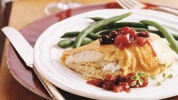 Crescent-Bundled Chicken with Cranberry Chutney