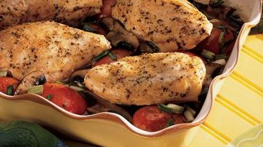 Roasted Chicken with Portobellos and Tomatoes