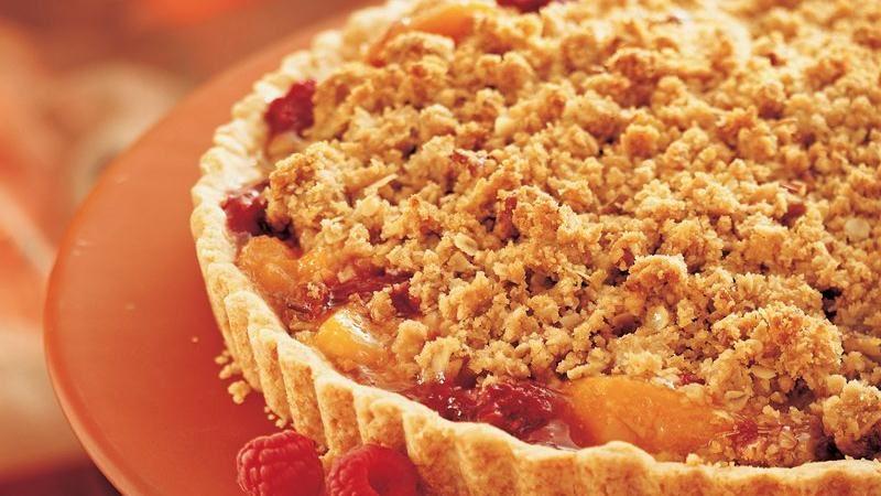 Peach-Raspberry Streusel Tart