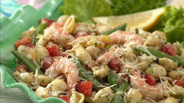Pesto Shrimp and Shells Salad