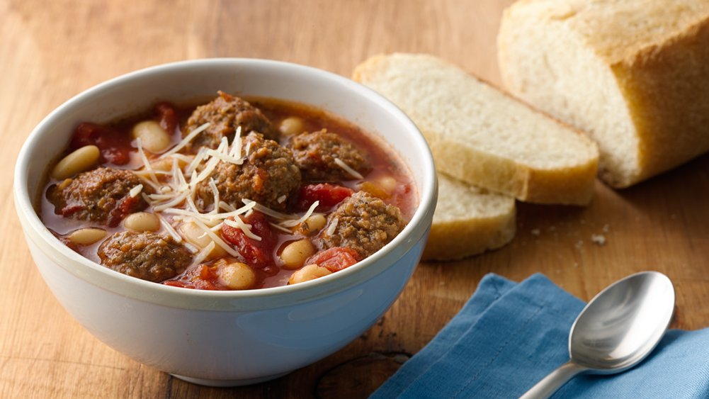 Come home to this slow-cooked Italian meatball soup made with ...
