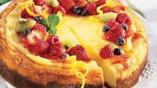 Lemon Chiffon Cheesecake with Fruit Topping Recipe