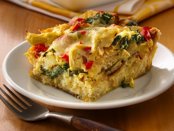 Picture of a serving of Lemon Artichoke Strata on a dish
