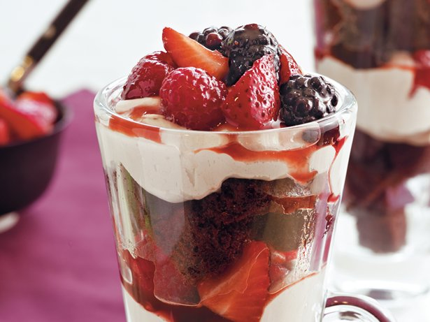 Chocolate Cake and Berry Parfaits