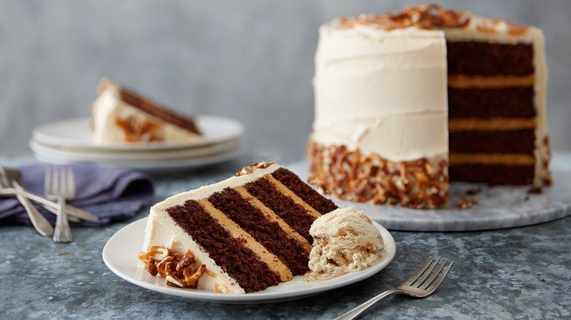 Sky-High Salted Caramel Chocolate Layer Cake recipe from Betty Crocker