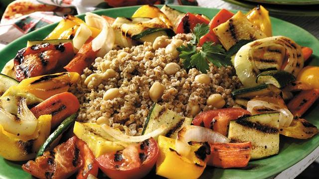 Grilled Vegetables with Chick Pea Pilaf