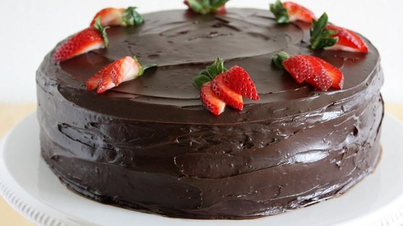 Dark Chocolate-Covered Strawberry Cake
