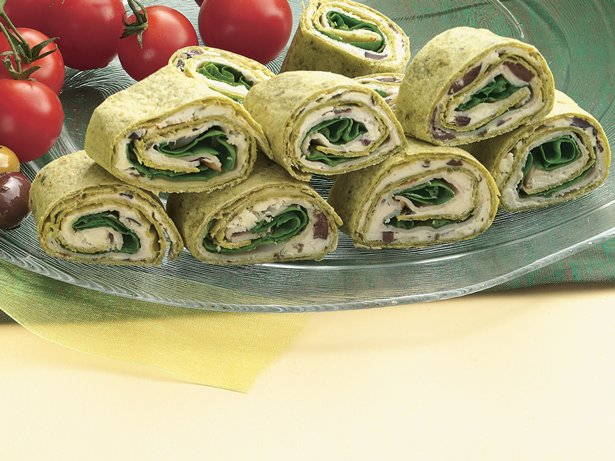 Greek Spinach-Turkey Wraps