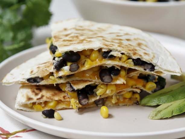 ... shares a family-friendly recipe for black bean and corn quesadillas