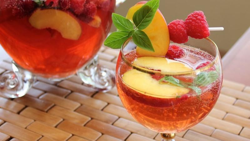 Basil, Peach and Raspberry Summer Sangría