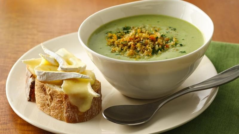 Asparagus Soup with Brie Bruschetta