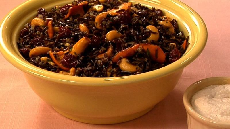 Gluten-Free Wild Rice Salad with Chanterelles, Sour Cherries and Cashew Sour Cream