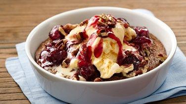 Warm Hazelnut Brownie Pudding Sundaes