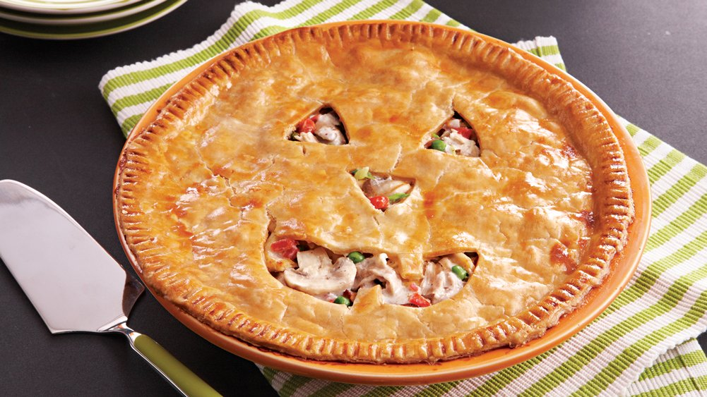 Jack o' Lantern Chicken Pie