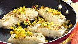 Gluten Free Skillet Fish with Quick Corn Relish