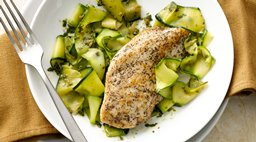 "Paleo Lemon Pepper Chicken with Pesto Zucchini ""Pappardelle"""