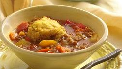 Slow Cooker Lentil Stew with Cornbread Dumplings