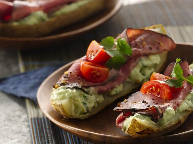 Beef Canapé Potato Skins with Yogurt Avocado Aioli
