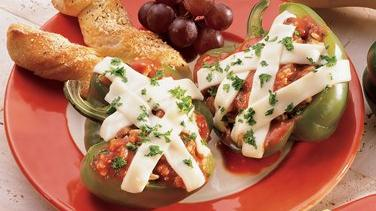 Spicy Chili Bean and Rice-Stuffed Peppers