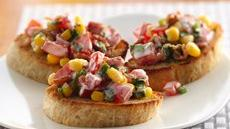 Crab Cake Crostini with Corn and Bacon Salsa Recipe