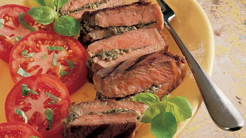 Grilled Pesto-Stuffed Steaks