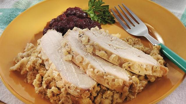 Slow-Cooked Turkey and Stuffing with Onion Glaze