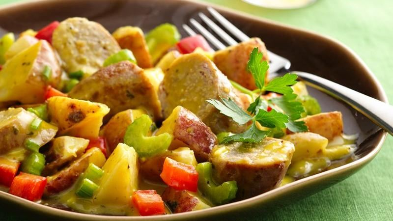 Warm Honey Mustard Potato Salad with Sausages recipe from Betty ...