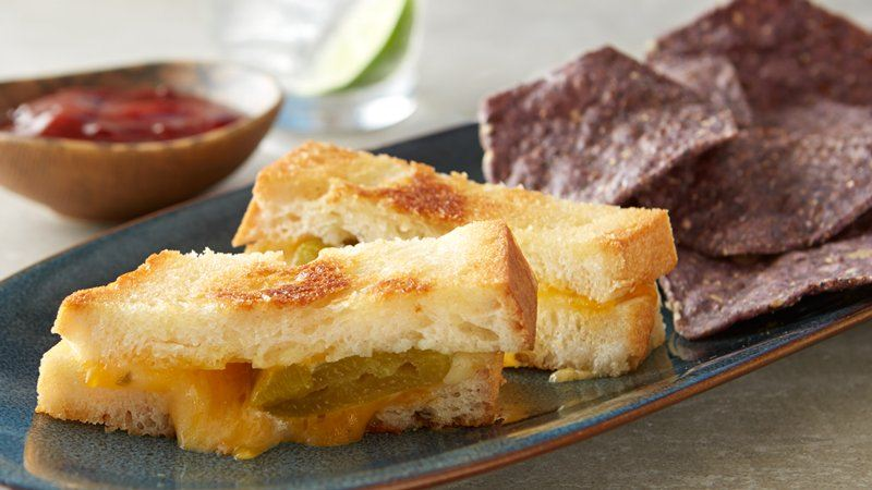 Chile Rellenos Grilled Cheese with Chipotle Honey Ketchup