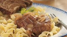 Slow Cooker Bavarian-Style Round Steak with Red Onions and Noodles Recipe