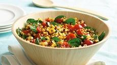 Wheat Berry, Grilled Corn and Spinach Salad Recipe