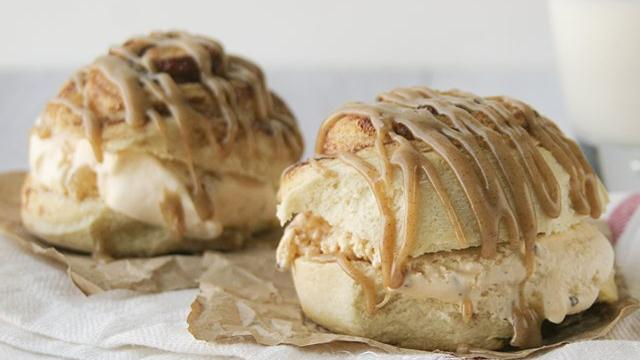 Caramel Roll Ice Cream Sandwiches