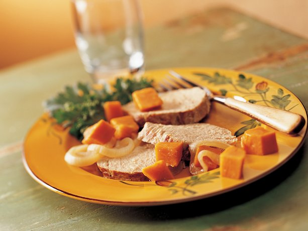 Slow Cooker Garlic Pork Roast and Sweet Potatoes