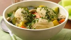 Summer Chicken Soup with Biscuit Dumplings Recipe