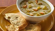 Curried Soup with Cheese-Filled Naan Recipe
