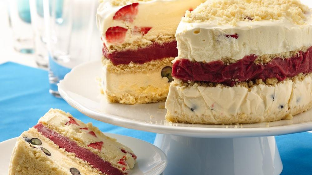 Layered Berry Ice Cream Cookie Cake