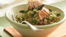 Quinoa Pilaf with Salmon and Asparagus Recipe