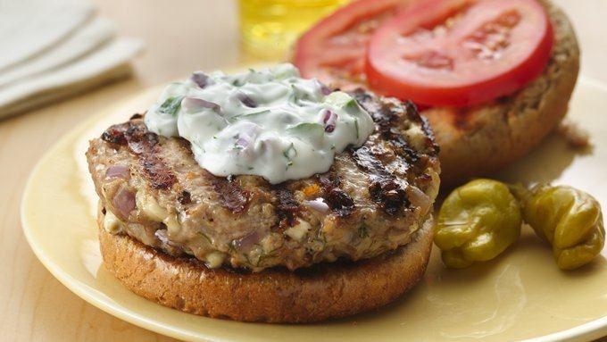 Greek Turkey Burgers with Tzatziki Sauce recipe - from Tablespoon!