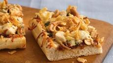 Barbecue Cashew-Chicken Pizza with French-Fried Onions Recipe