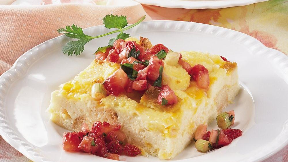 Cheesy Egg Bake with Strawberry Salsa