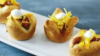 Mini Chili Dog Crescent Cups