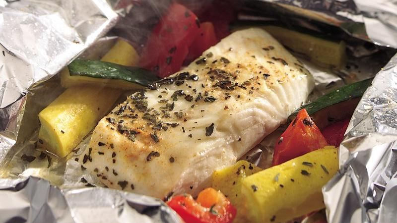 Grilled lemon pepper halibut and squash foil packets for Grill fish in foil