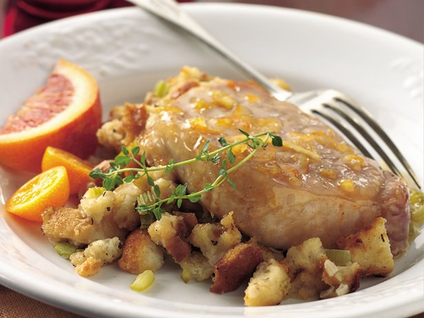 Orange-Glazed Pork Chops with Herb Stuffing