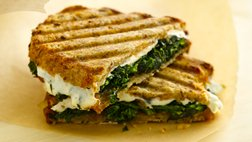 Kale with Mozzarella and Hot Pepper Jelly Panini