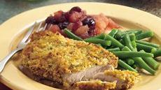 Oven-Fried Pork Chops with Cranberry Applesauce Recipe