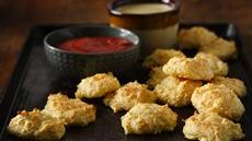 Cheddar Parmesan Puffs with Dipping Sauces Recipe