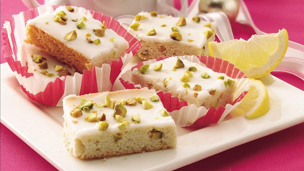 Lemon-Glazed Pistachio Bars