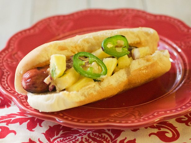 Mexican Hot Dogs with Pineapple Salsa