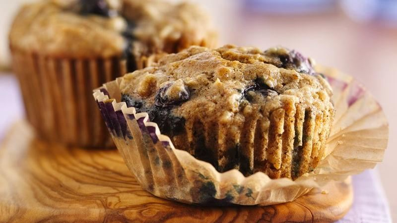 Oatmeal-Whole Wheat Blueberry Muffins recipe from Betty Crocker